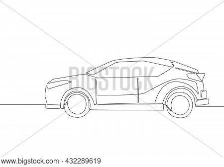 Continuous Line Drawing Of Small And Simple Hatchback Car. Urban City Vehicle Transportation Concept