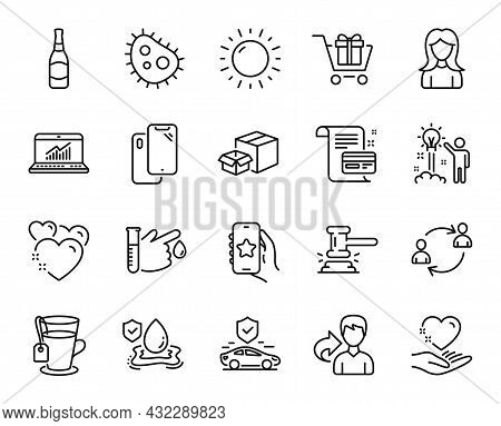 Vector Set Of Share, Sunny Weather And Flood Insurance Line Icons Set. Packing Boxes, Favorite App A