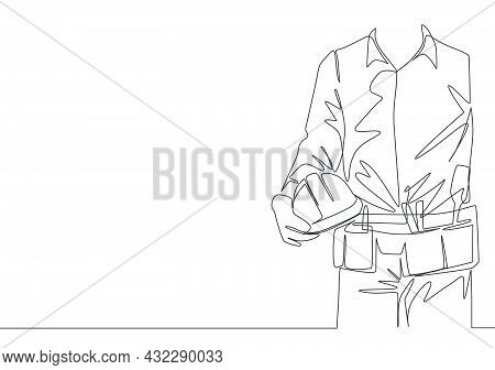 One Single Line Drawing Of Young Construction Foreman Wearing Tools Belt And Holding Helmet. Repairm