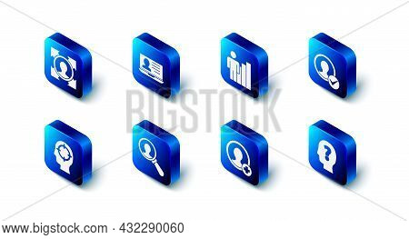 Set Laptop With Resume, Productive Human, Create Account Screen, Head Question Mark, Magnifying Glas