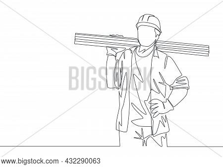 Single Continuous Line Drawing Of Young Lumberjack Wearing Helmet And Glove While Carrying Stack Of