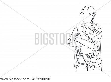 One Continuous Line Drawing Of Young Construction Builder Wearing Uniform, Tools Belt And Helmet Whi