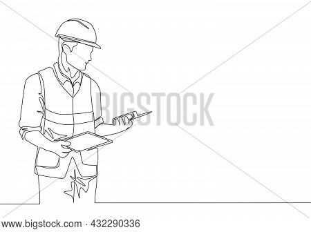 One Continuous Line Drawing Of Young Handsome Foreman Holding Tablet And Walkie Talkie. Home Renovat