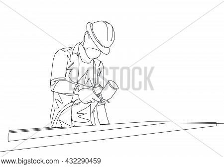 One Single Line Drawing Of Young Attractive Handyman Painting Wooden Board Using Paint Sprayer. Home