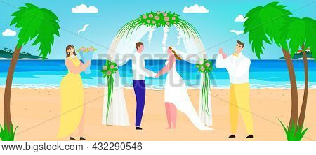 Beach Wedding Near Sea, Vector Illustration, Romantic Couple Groom And Bride Character Stand Togethe