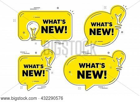 Whats New Text. Idea Yellow Chat Bubbles. Special Offer Sign. New Arrivals Symbol. Whats New Chat Me
