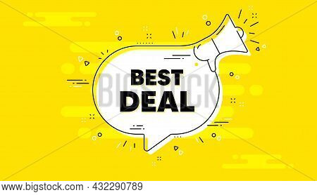 Best Deal Text. Alert Megaphone Yellow Chat Banner. Special Offer Sale Sign. Advertising Discounts S