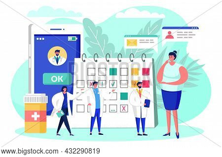 Book Doctor Online, Patient Plan Medical Appointment, Vector Illustration, Flat Oman Character Choos