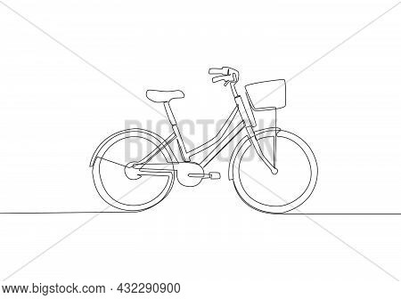 One Single Line Drawing Of Girly Classic Roadster Bicycle Logo. Bike With Basket At The Front Concep