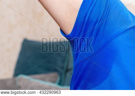 Man With Hyperhidrosis Sweating Very Badly Under Armpit.man Sweating Excessively Smelling Bad At Hom