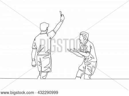 Single Continuous Line Drawing Of Referee Punished Young Football Player A Yellow Card To His Foul A