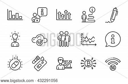 Science Icons Set. Included Icon As Survey, Bitcoin System, Diagram Chart Signs. Upper Arrows, Signa