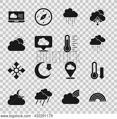 Set Rainbow, Meteorology Thermometer, Cloud With Rain, Location Cloud, Sun And Weather, Weather Fore