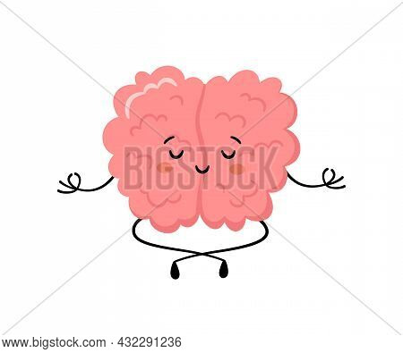 Cute Human Brain In Yoga Pose. Kawaii Healthy Brain Character Practicing Yoga And Meditates. Funny V