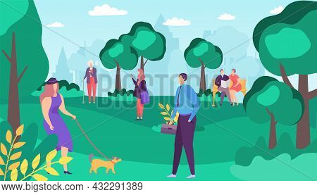 People Man Woman Character Walk In Summer Park, Vector Illustration, Outdoor Lifestyle At City Natur