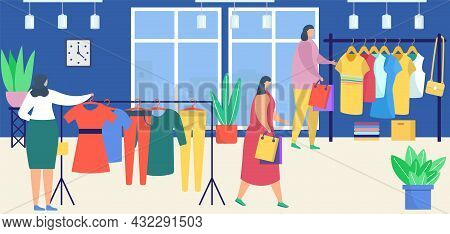 Store With Clothes, Vector Illustration. Female Fashion Shop Sale For Flat Woman Character, Retail C