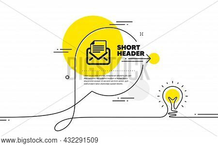 Mail Correspondence Icon. Continuous Line Idea Chat Bubble Banner. Read Message Sign. E-mail Symbol.