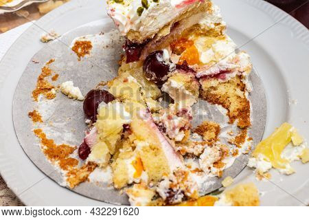 Leftover Cake On The White Plate Closeup.unhealthy Food, High Calories Food, Diabetes And Dessert Co