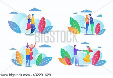 Isolated Woman Man Couple Set, Vector Illustration, Happy Young Girl Guy Character In Love Together,