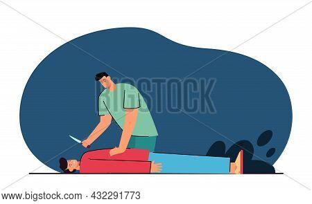 Killer Holding Knife In Hand, Bending Over Victim. Flat Vector Illustration. Offender Threatening In