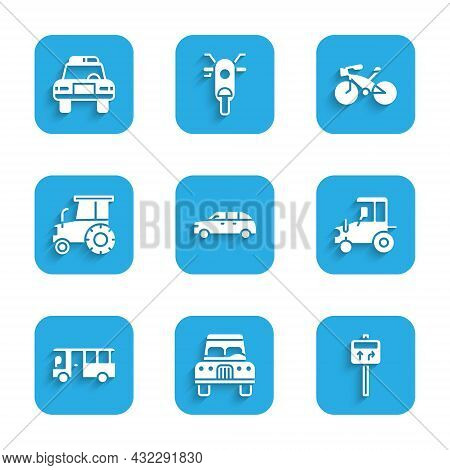 Set Hatchback Car, Car, Road Traffic Signpost, Tractor, Bus, Bicycle And Police And Flasher Icon. Ve