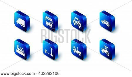 Set Bus, Police Car And Flasher, Hatchback, Tractor, Tow Truck, Scooter, Cargo Ship With Boxes And D