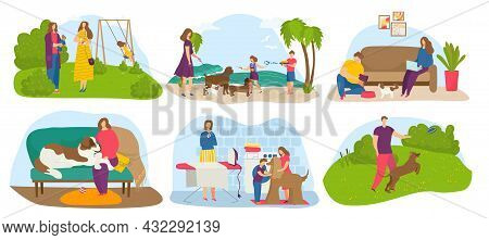 Dog Owner Set, Vector Illustration, Cartoon Man Woman Character Walk With Puppy Pet At Park, Family