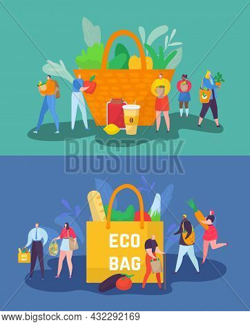 Eco Friendly Shopping Concept, Vector Illustration, Tiny Man Woman Character Care About Planet Ecolo
