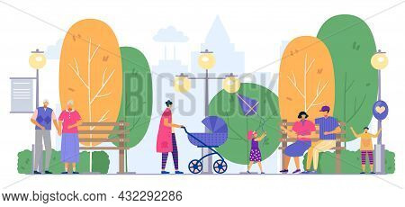 Park With Family, People Outdoor, Vector Illustration. Flat Man Woman Character Walk At Summer Natur