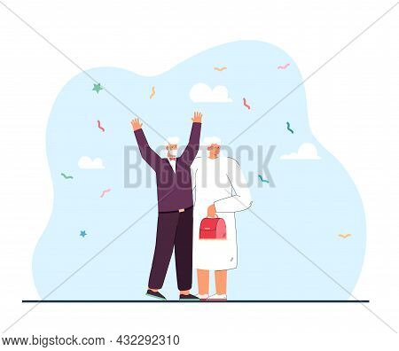 Wedding Of Elderly Man And Woman Flat Vector Illustration. Grandmother In Wedding Dress And Veil Sta