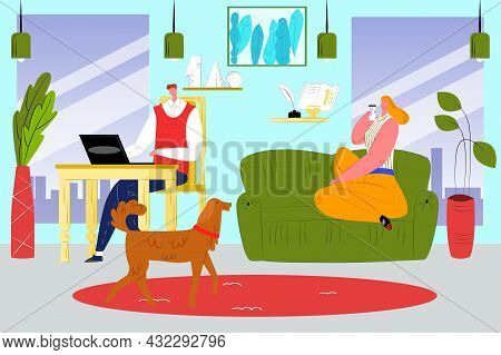 Work At Home, Vector Illustration, Flat Business Man Character Use Laptop Computer At Room, Woman Wi
