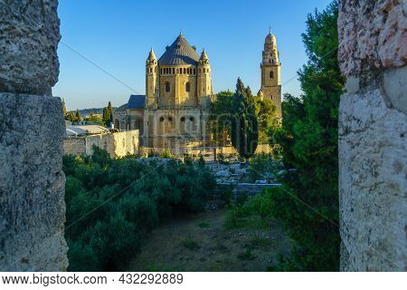 View From The Old City Walls Towards The Abbey Of The Dormition, In Jerusalem, Israel