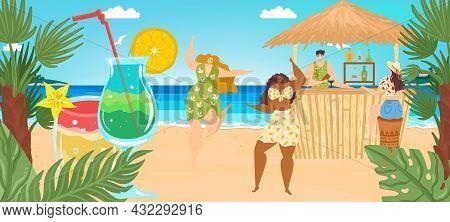 Beach Vacation At Summer Sea, Vector Illustration, Tiny Man Woman Character At Tropical Bar, Fruit C