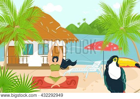 Yoga Relax At Tropical Summer, Vector Illustration, Flat Girl Character Lifestyle, Young Woman Medit