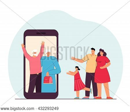 Family Communicating Online With Their Grandparents. Flat Vector Illustration..grandfather, Grandmot