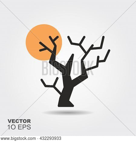 Halloween Tree. Flat Silhouette Icon With Shadow