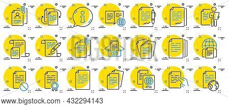 Documents Line Icons. Copy Files, Contract Agreement, Passport. Cv Interview, Documents Workflow, At