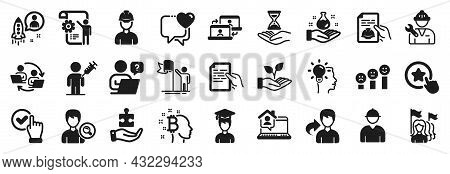 Set Of People Icons, Such As Loyalty Star, Time Hourglass, Chemistry Lab Icons. Technical Documentat