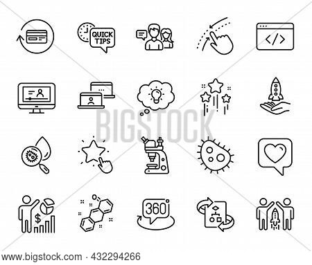 Vector Set Of Chemical Formula, Refund Commission And Energy Line Icons Set. Microscope, Seo Script