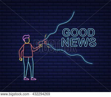 Man Holding Megaphone With Good News. Megaphone Banner. Web Design. Neon Style. Vector Stock Illustr