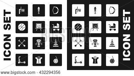 Set Bow Toy, Chalkboard, Basketball Ball, Backboard, Baby Stroller, Sword, Pyramid And Arrow With Su