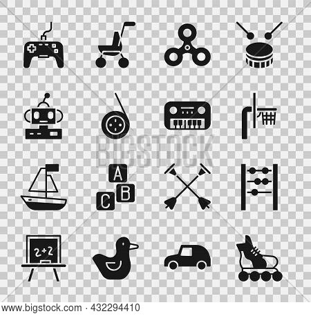 Set Roller Skate, Abacus, Basketball Backboard, Fidget Spinner, Yoyo Toy, Robot, Gamepad And Toy Pia