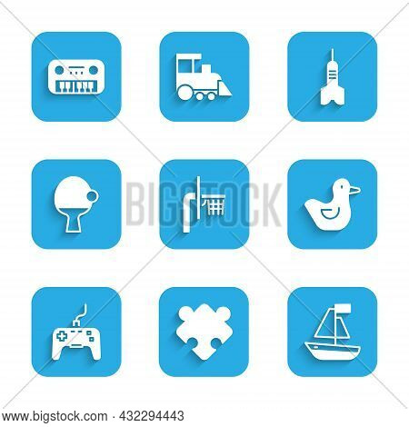 Set Basketball Backboard, Puzzle Pieces Toy, Toy Boat, Rubber Duck, Gamepad, Racket And, Dart Arrow