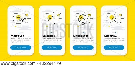 Vector Set Of Settings Gear, Success Business And Hydroelectricity Line Icons Set. Ui Phone App Scre