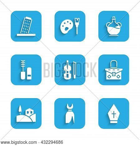 Set Violin, Woman Dress, Pope Hat, Handbag, Village Landscape, Mascara Brush, Bottle Of Olive Oil An