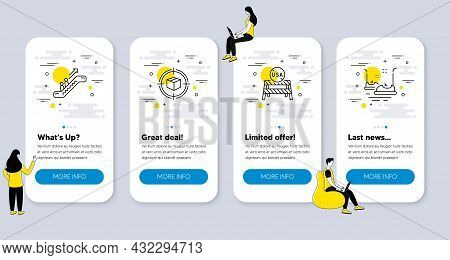 Set Of Transportation Icons, Such As Usa Close Borders, Escalator, Parcel Tracking Icons. Ui Phone A