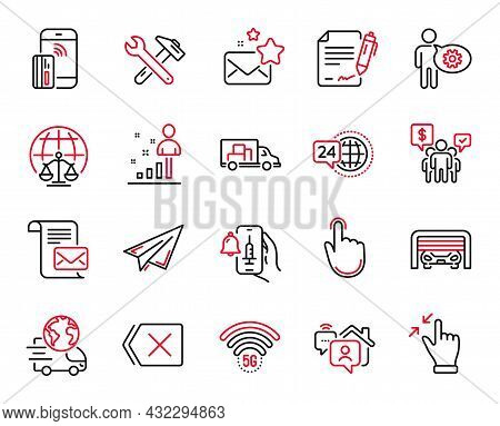 Vector Set Of Technology Icons Related To Remove, Spanner Tool And Truck Transport Icons. Paper Plan