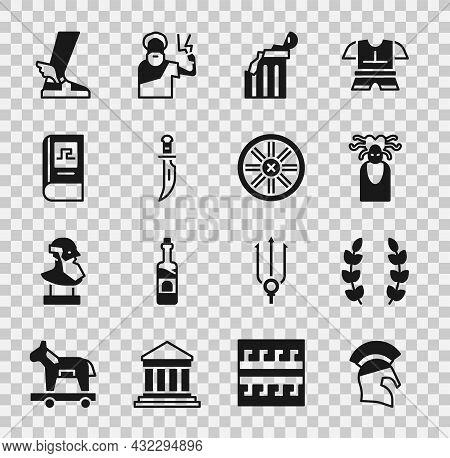 Set Greek Helmet, Laurel Wreath, Medusa Gorgon, Broken Ancient Column, Dagger, History Book, Hermes