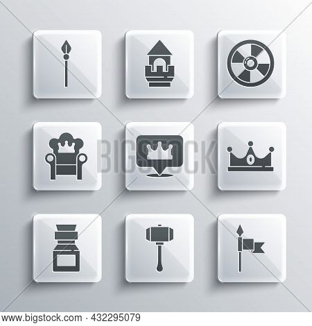 Set Hammer, Medieval Spear, King Crown, Location King, Poison Bottle, Throne, And Round Wooden Shiel