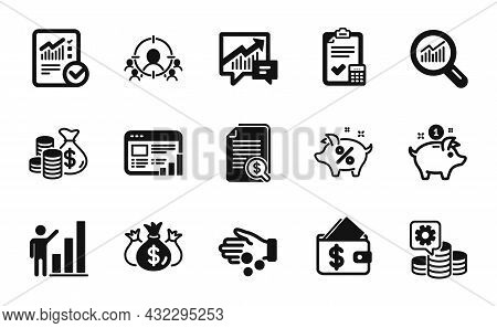 Vector Set Of Checked Calculation, Check Investment And Business Targeting Icons Simple Set. Account